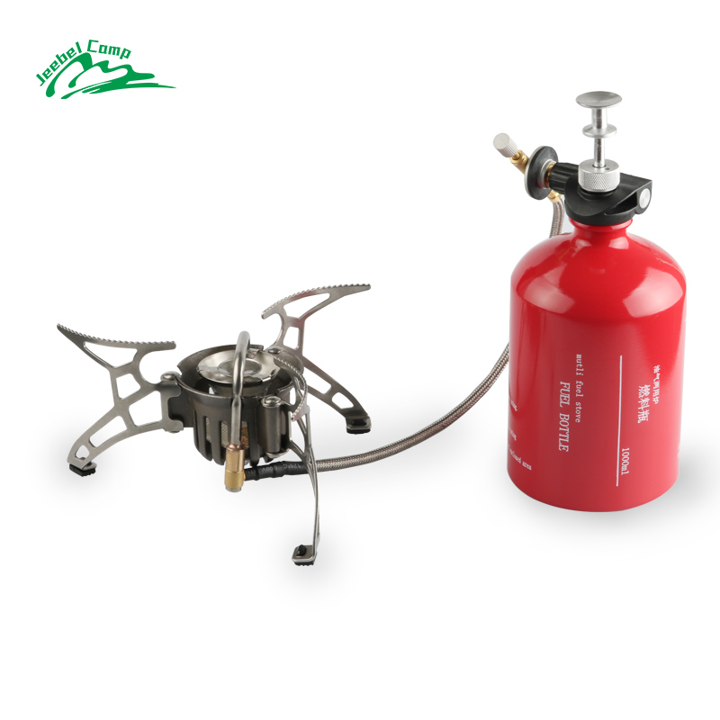 Jeebel Non-preheating Gasoline Gas Stove Set 1000ml Big capacity Bottle Outdoor Camping portable Burners with Windshield