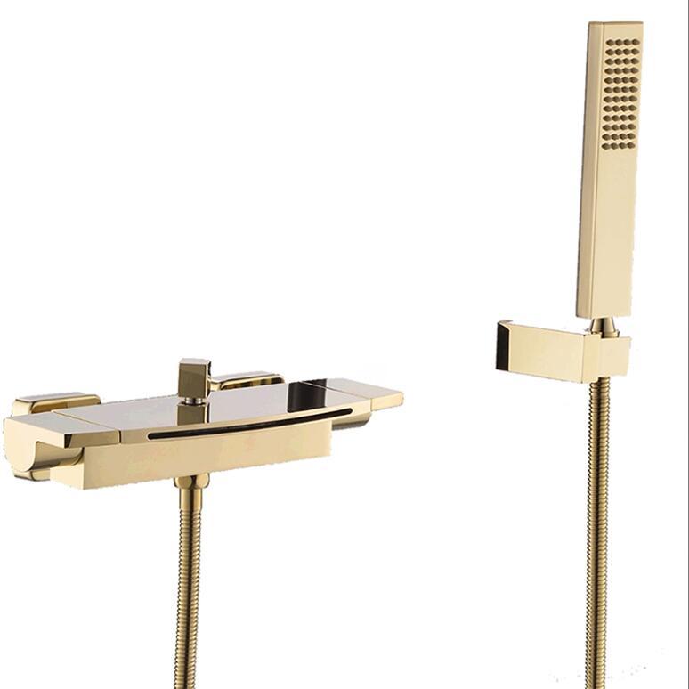 HTB1YBgzXhD1gK0jSZFKq6AJrVXaS Wall Mounted Brass Bathroom Gold Waterfall Bathtub Faucet set Square hand held Shower Faucet Sets Bathtub Faucet Set