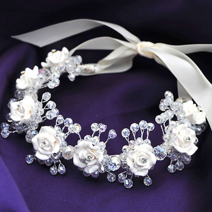 Jewelry Sets & More Handmade Clay Flower Bridal Headdress White Clay Hairbands Crystal Wedding Hair Accessories