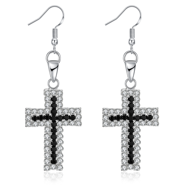High Quality Cross Earrings Alloy Silver Color White black Glass ...