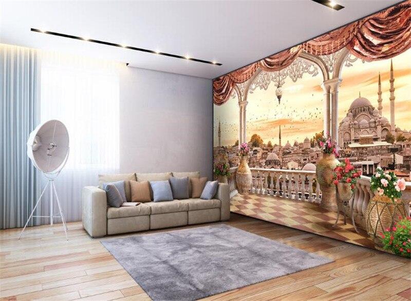 €19.6 46% de réduction|Personnalisé grand moderne 3d non tissé mural papier  peint balcon turc paysage 3d TV canapé salon fond décor à la maison-in ...