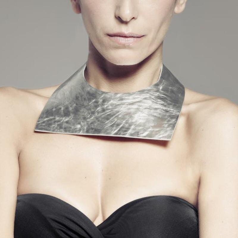2019 Fashion Silver Leather Necklaces Women Choker Necklace Geometric Jewelry Punk Style Jewellery Bohemia