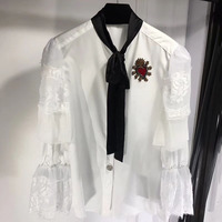 Dressnow white blouses women summer 2018 long lace butterfly sleeve blouse black neck blouse