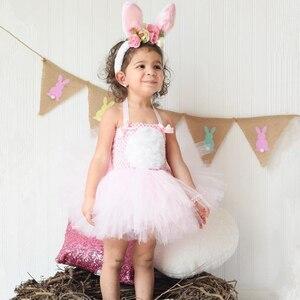 Image 5 - الوردي الأرنب الأرنب توتو فستان مع عقال الذيل بنات عيد ميلاد ملابس الاطفال عيد الفصح هالوين ازياء للبنات ملابس للحفلات