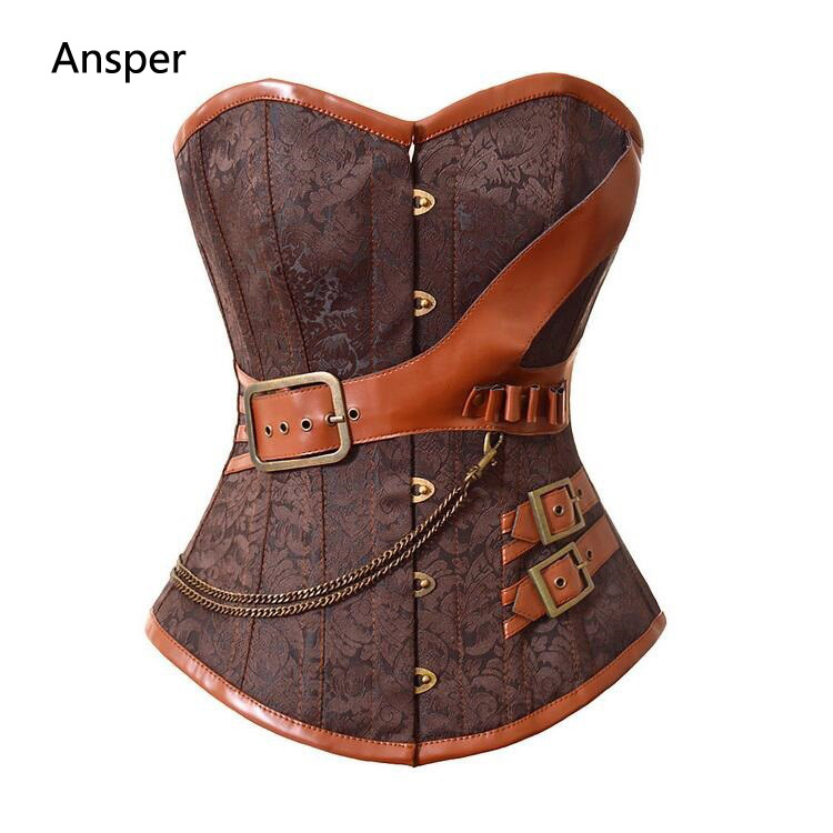 Women's Underbust Steel Boned lace Vest Leather Brown Steampunk Corset with front belt chain 5XL 6XL