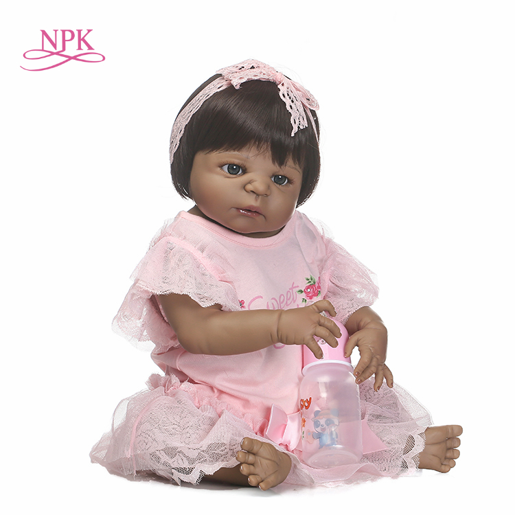 NPK free shipping boneca reborn black girl doll with full vinyl girl body doll best toys for children on Birthday eglo navedo 93459