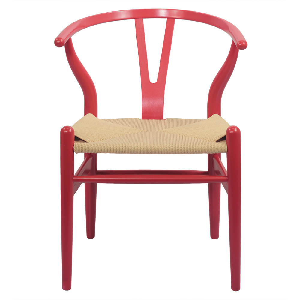 Wooden Wishbone Chair Hans Wegner Y Chair Solid Beech Wood Dining Room Furniture Colorful Accent Dining Chair Natural Hemp Seat