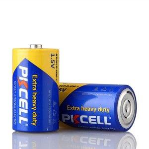 Image 2 - 6 sztuk PKCELL R20P superciężki cła baterii o rozmiarze D 1.5V 13A UM1 MN1300 E95 bateria cynkowo węglowa podstawowego sucha bateria