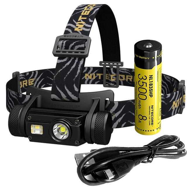 2018 NITECORE HC65 + 18650 Rechargeable Battery Headlamp U2 1000 Lumes 3x LEDs Headlight Waterproof Camping Travel Free Shipping
