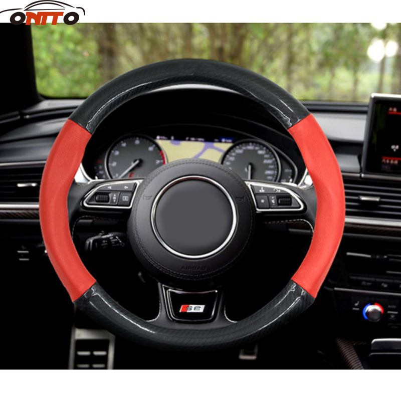 Hot Sell Carbon fiber Auto Car Steering Wheel Cover Steering Wheel Hubs 38CM/15 Free Shipping