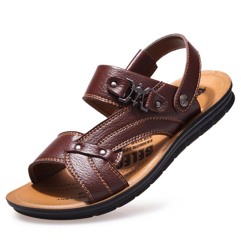 Для мужчин gyusha Лето Для мужчин кожа Прозрачные босоножки Элитный бренд классической мужской итальянский formalbeach дизайнерские босоножки для ...