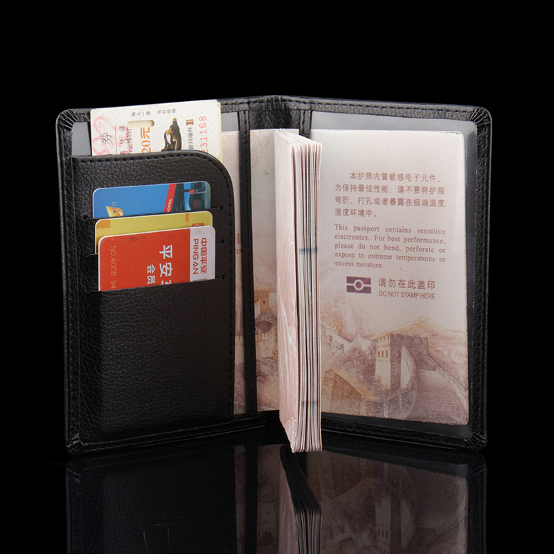 Leather Passport Cover Holder for Men /& Women With Credit Card Slots Color Black