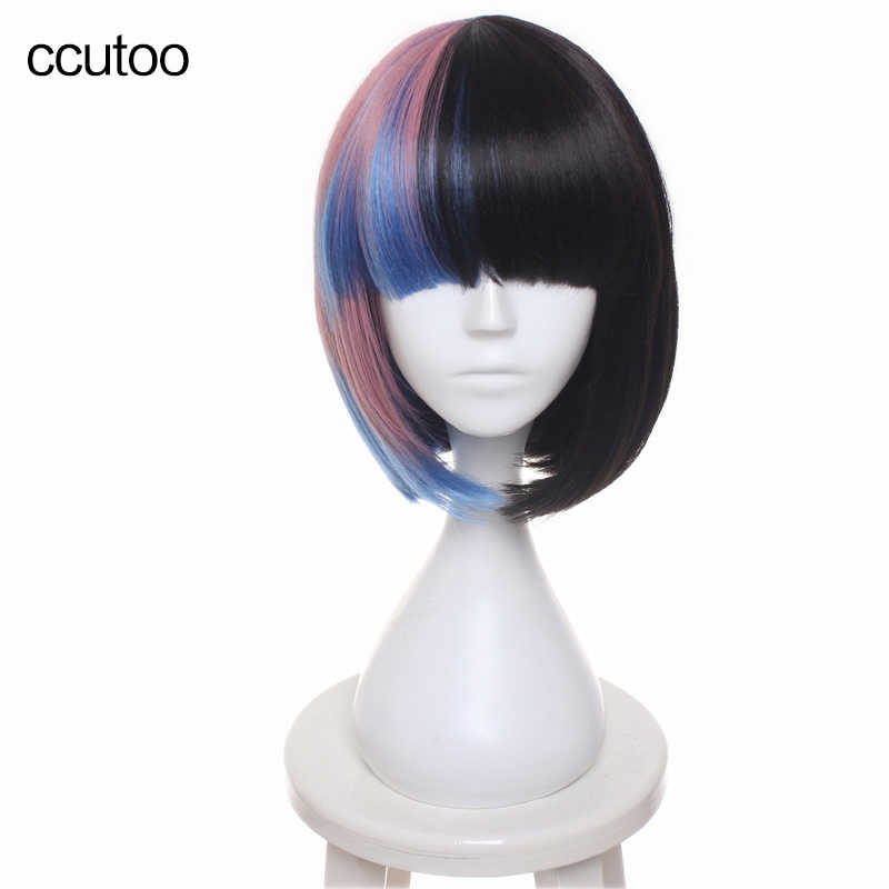 "ccutoo Melanie Martinez 14"" Women's Bobo Short Blue Black Pink Mix Flat Bangs Heat Resistance Synthetic Full Hair Cosplay Wig"