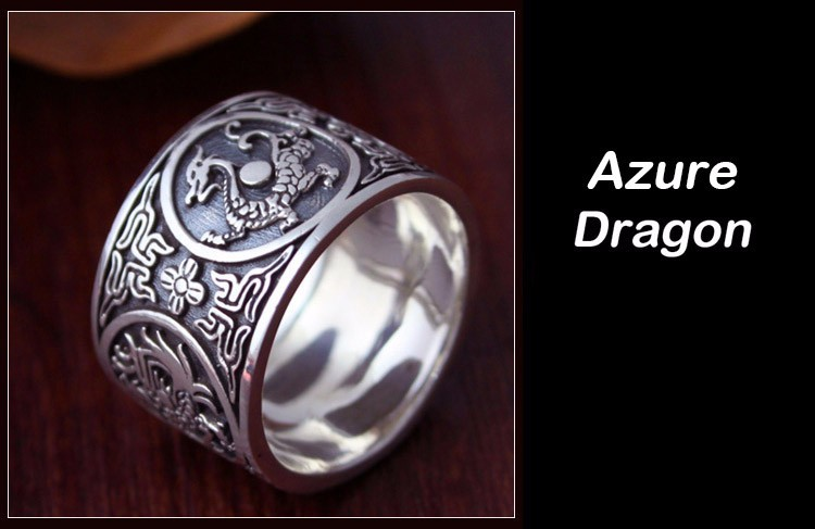 Awesome Chinese Traditional Culture 999 Sterling Silver Ring Azure