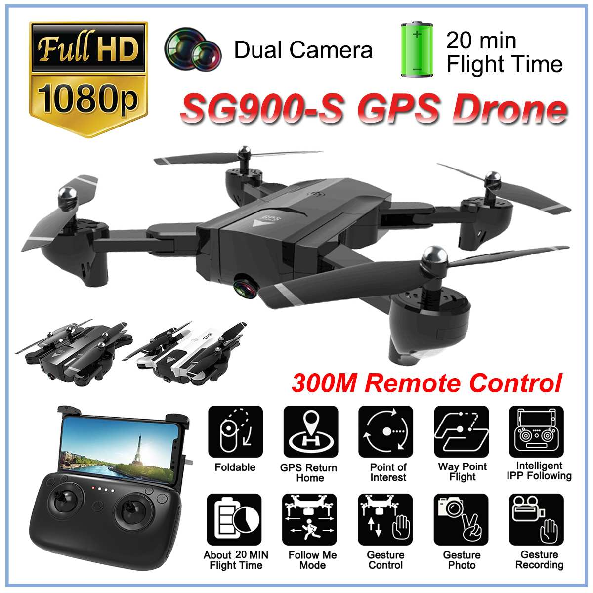 SG900S Ultra HD 1080P Foldable Camera Drones GPS with Camera 2.4G GPS RC Helicopter Drone Wifi FPV Wide Angle Camera