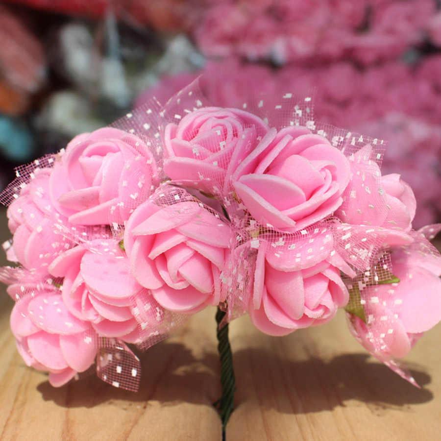 144 ピース人工ミニフォーム花ローズチュールレッド DIY ギフトボックスクラフト紙スクラップブッキングの花装飾偽の花束花輪