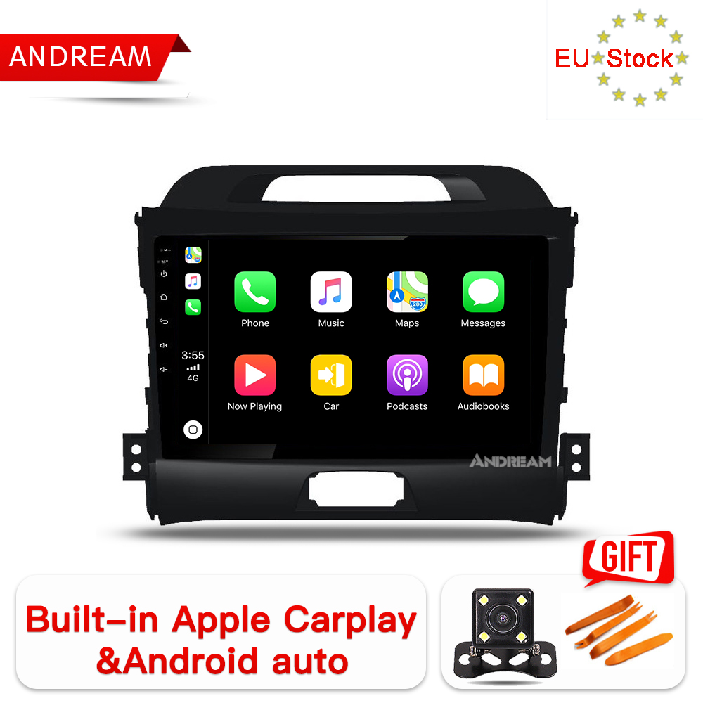 "Andream Android 8.1 Octa-Core 9"" carplay car player for KIA Sportage R 2010-2016 GPS navigation Head Unit Radio audio multimedia"