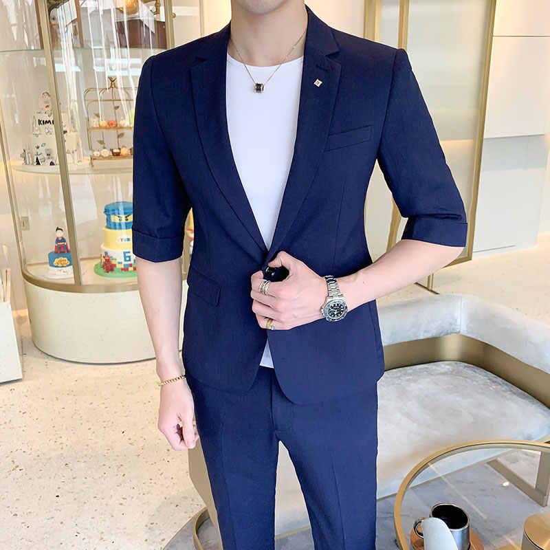 Pantofi 2018 cele mai bune preturi disponibilitate Marea Britanie 2019 Fashion Solid Men's Suit Sets Summer Lightweight Short Sleeve ...
