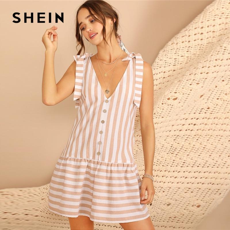 Шеин абрикос узел плечо кнопка спереди полосатый рябить подол платья для женщин для элегантный V средства ухода за кожей Шеи Без рукаво