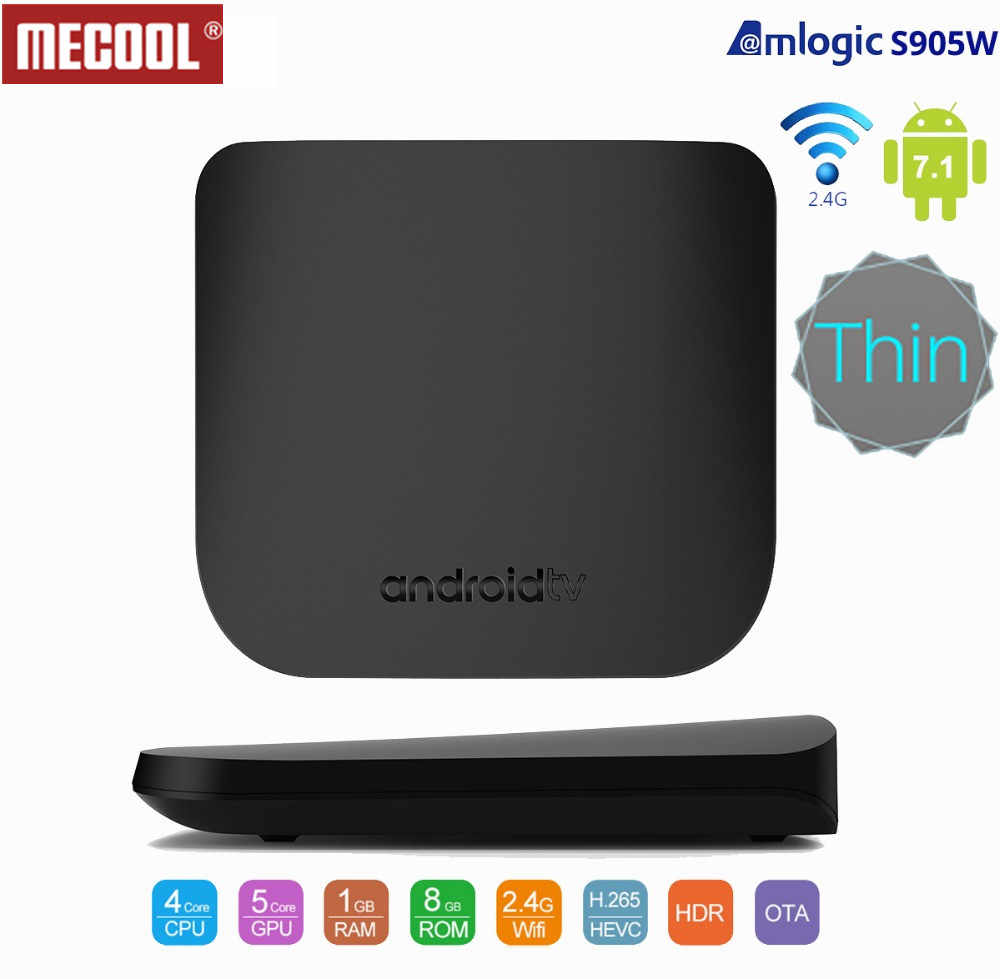 Mecool M8S Plus W Amlogic S905W Android7.1 Smart TV Box 2G RAM 16G ROM 2.4G WiFi 4K Ultra Tipis HD Set Top Box Player Mendukung 3D