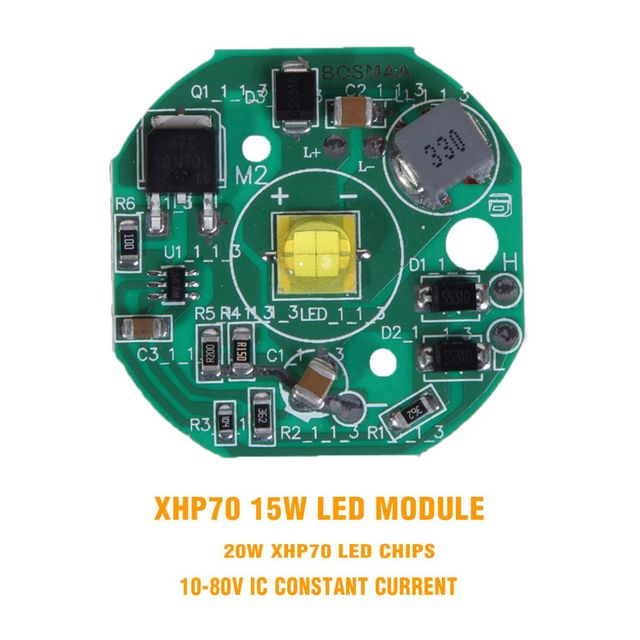 BOSMAA Motorcycle LED Chip XHP70 7070 15W Spotlight PCB Module Poard 6000k High Power 12V for Car ATV Motor Work Light DIY