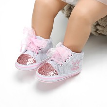 Newborn Baby Girls Embroidered Flower Crib Shoes First Walke