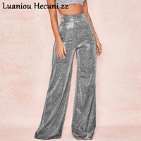Chu Ni Autumn Silver light wide leg pants women Sexy skinny flare pants Vintage high waist pants Winter trousers 2019 LX44