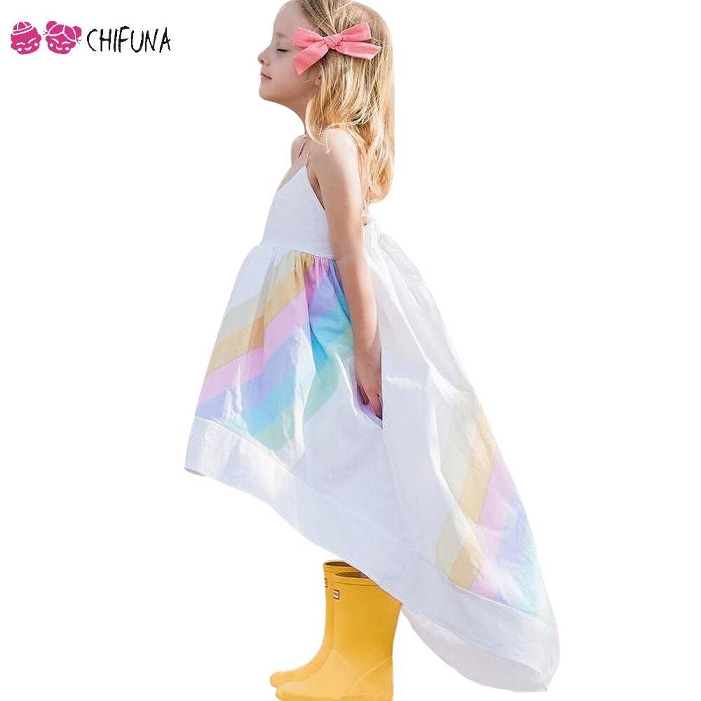 chifuna Girls Princess Dress Rainbow Printed Sling Dress Children's Kids Clothes Fashion Summer Toddler Girls Party Dress