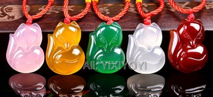 Beautiful Chinese Natural White Green Red Agate Jade Carved Cute Fox Lucky Blessing Pendant + Rope Necklace Fine Jewelry
