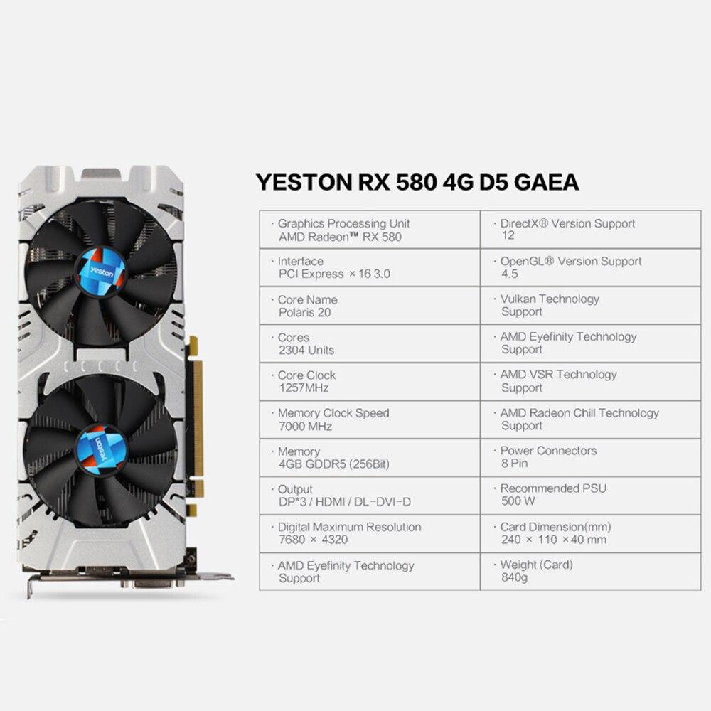 Yeston Radeon RX 580 GPU 4GB GDDR5 256 bit Gaming Desktop computer PC Video Graphics Cards support DVI/HDMI 1