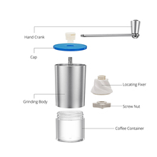 Mini Manual Coffee Grinder with Transparent Body Adjustable Ceramic Millstone Coffee Burr Mill for Home Office Travelling