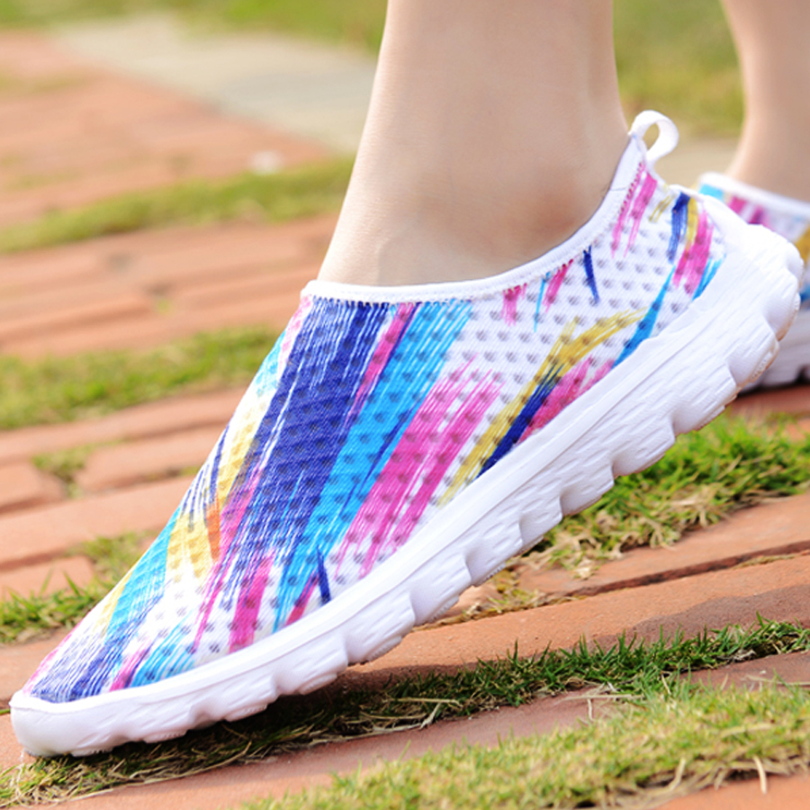 Barefoot Life nya sommar sneakers kvinnor, 3D tryckning luftnät ljus - Gymnastikskor