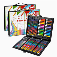 цены 168 Colors Children Draw Suit Learning Supplies Watercolor Pen Crayon Oil Painting Nice Painting Tool Gift Box Set School Gift