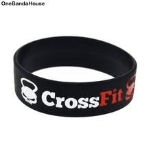Obh 1pc crossfit nenhuma dor nenhum ganho pulseira de borracha silicone 3/4 Polegada logotipo motivacional largo