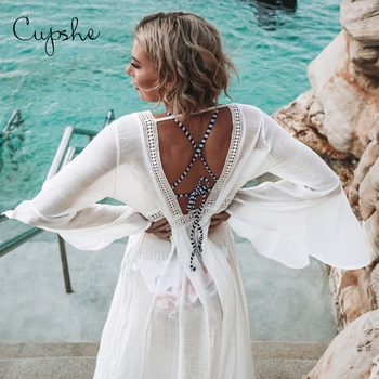 CUPSHE Sexy Ladies Women Solid White Bikini Cover up Open Back Beach Dress Swimwear Beach Bathing Summer Swimsuit Tunic Kimono 1