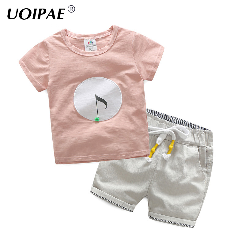 2018 Summer Boys Clothes Set Casual Printing T-shirt Boy Short Sleeve+Shorts Boys Elastic Waist Simple 2 Piece Clothes B0137