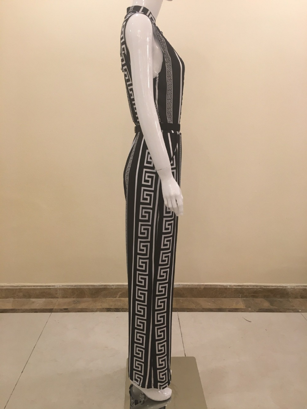 2017 autumn rompers womens jumpsuit Elegant One Piece long wide leg Party bandage printed white black fashion nova dungarees 9