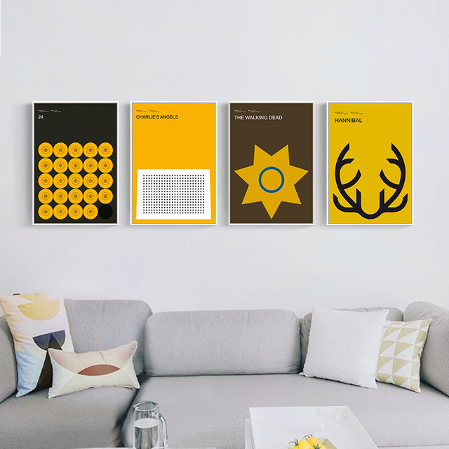 Modern Abstract minimalist Canvas Painting Wall Decor Yellow ...