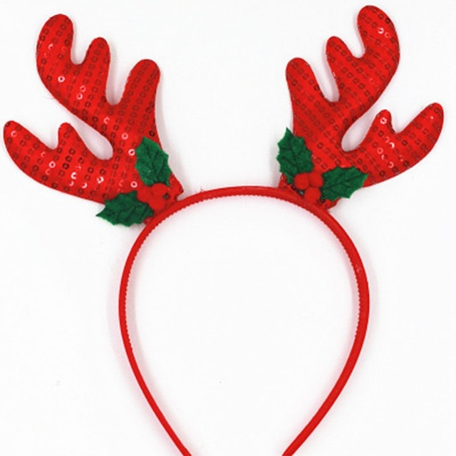 Baby Adult Christmas Hair band Head Hoop Xmas Sequins Antlers Red Yellow  Color Children s Jewelry New Year Gift 12b99472731