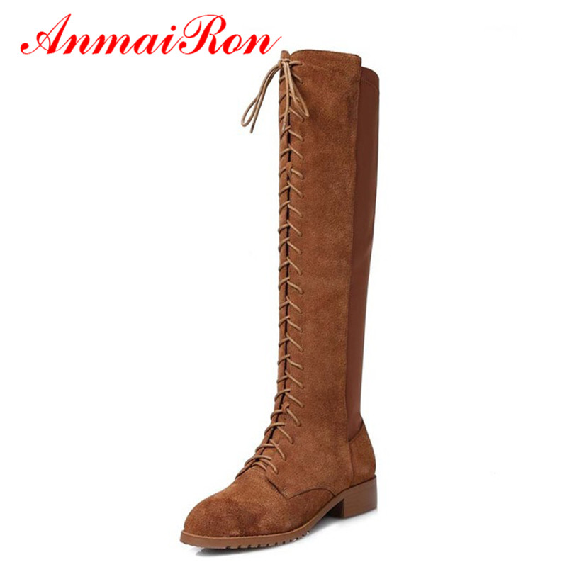 ANMAIRON Round Toe Flats Women Motorcycle Boots Full Grain Leather Low Heels Lace-Up Rider Boots Big Size34-43 Winter Boots Hot high quality full grain leather and pu mixed colors boots size 40 41 42 43 44 zipper design lace up decoration round toe boots