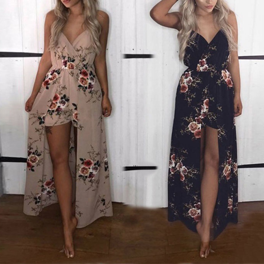 Bohemia Split Long Maxi Dress Womens Rose Printed Boho Beach Shorts Irregular Hem Party Dresses