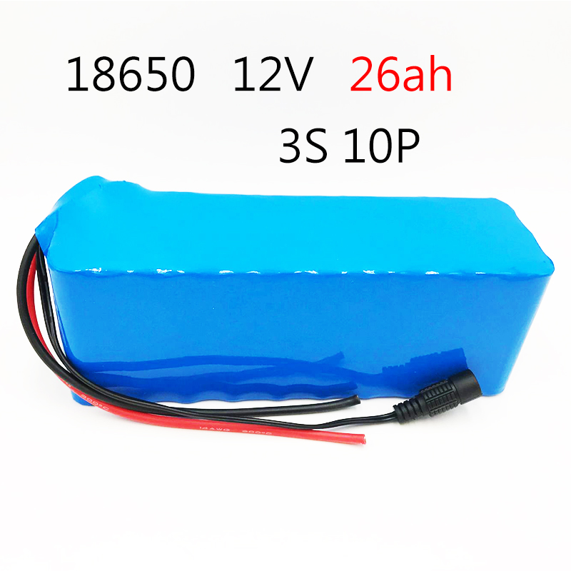 Laudation 12 V 26AH batterie Rechargeable DC 12.6 V 18650 Li-ion batterie 26AH chasse xénon lampe de pêche Source de lumière extérieure