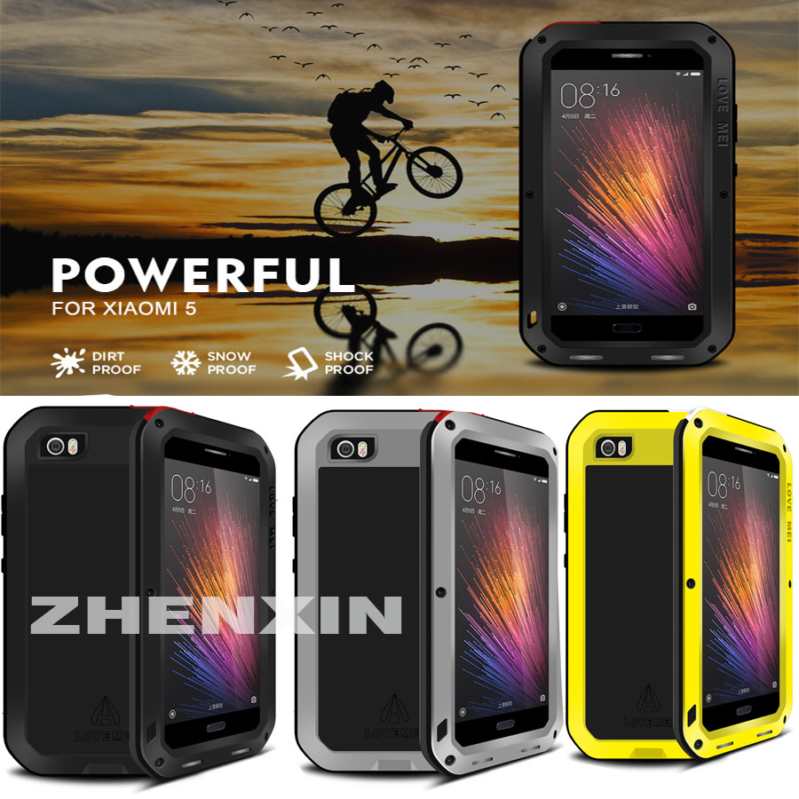 imágenes para 100% AMOR de la Original MEI Potente A Prueba de Choques de Aluminio Del Metal Para Xiaomi 4 Mi4 5 M5 Mi5 + Templado Gorilla Glass