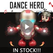 Железный человек танцевальная фигурка игрушка Тони светодиодный фонарик музыка Мстители 4 иромен герой качели Marvel электронная игрушка подарок