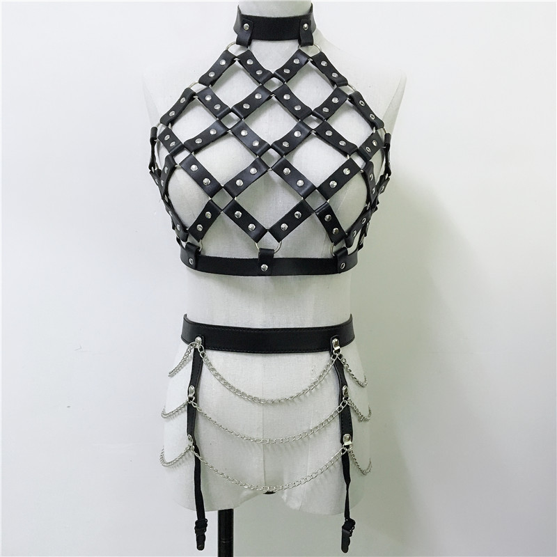 Goth O-Neck Hollow Out Two Piece Set Fashion Faux Leather Rivet Backless Top Metal Link Chain Mini Skirt Party Night Club Suit