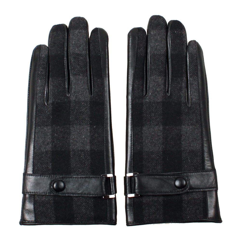 Black leather gloves buttons - 2016 Autumn Winter Men New Classic Belt Buttons Soft Lining Touch Screen England Leather Driving Warm