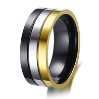 Top Quality Classic Europe Western Design Titanium Steel Wedding Bands Promise Rings For Men