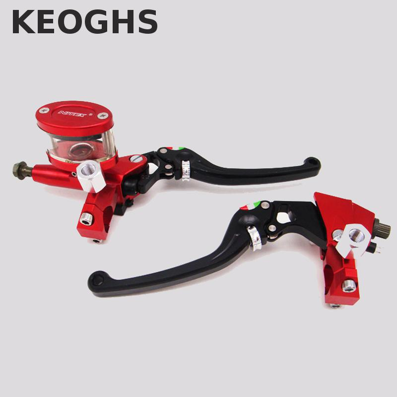 Keoghs Motorbike Hydraulic Brake Master Cylinder And Clutch Lever One Set Universal 22mm For Dirt Bike Scooter Yamaha Honda keoghs motorcycle rear hydraulic disc brake set diy modify cnc rpm brake pumb for yamaha scooter dirt bike motorcross motorbike