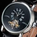 FORSINING Voador Tourbillon Mostrador Preto Pulseira de Couro Genuíno Dos Homens De Luxo À Prova D' Água Mecânico Automático Relógios Montre Homme