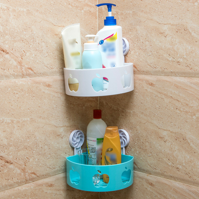 Fashion 3 Colors Corner Shelf Bathroom Kitchen Storage Organization Rack apple shape shelf